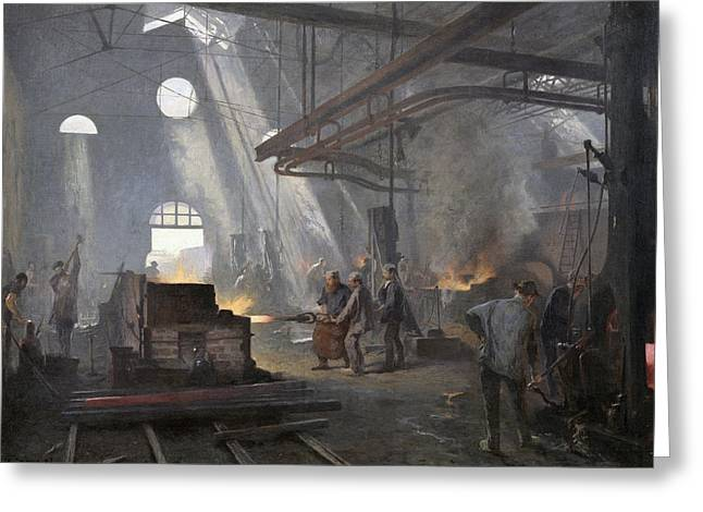 Skylight Greeting Cards - A Forge, 1893 Oil On Canvas Greeting Card by Fernand Cormon