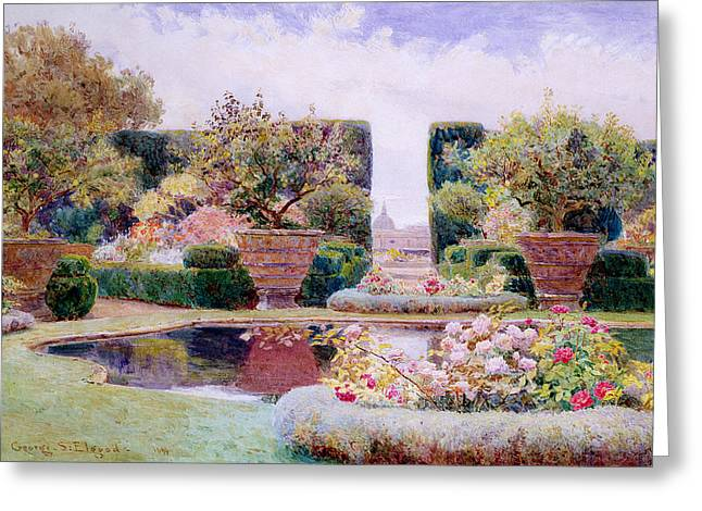 Garden Art Greeting Cards - A Formal Garden in Rome Greeting Card by George Samuel Elgood