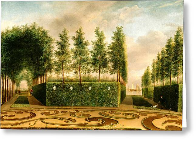 Barock Greeting Cards - A Formal Garden Greeting Card by Johannes Janson