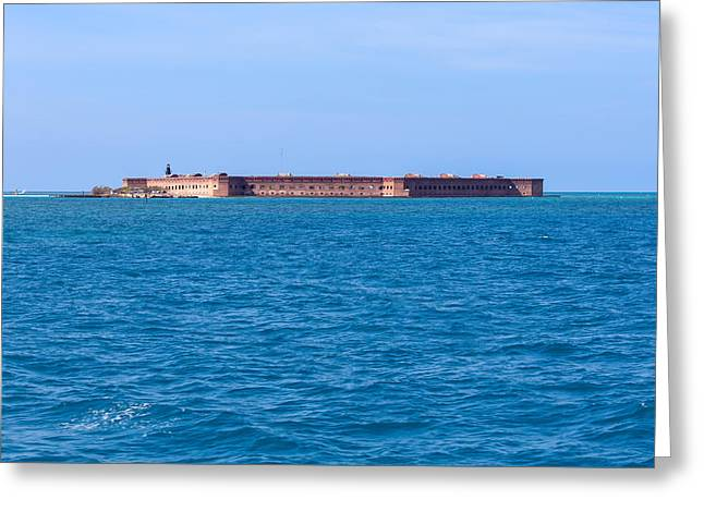 Dry Tortugas Greeting Cards - A Fort Atop an Island Greeting Card by John Bailey