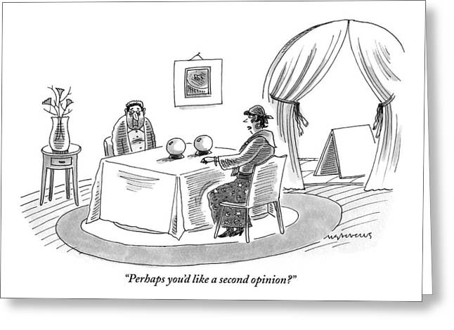 A Fortune Teller Is Speaking With A Sad-looking Greeting Card by Mick Stevens