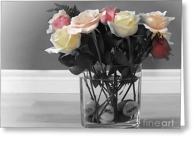 Rose Stem Greeting Cards - A Foundation of Love Greeting Card by Cathy  Beharriell