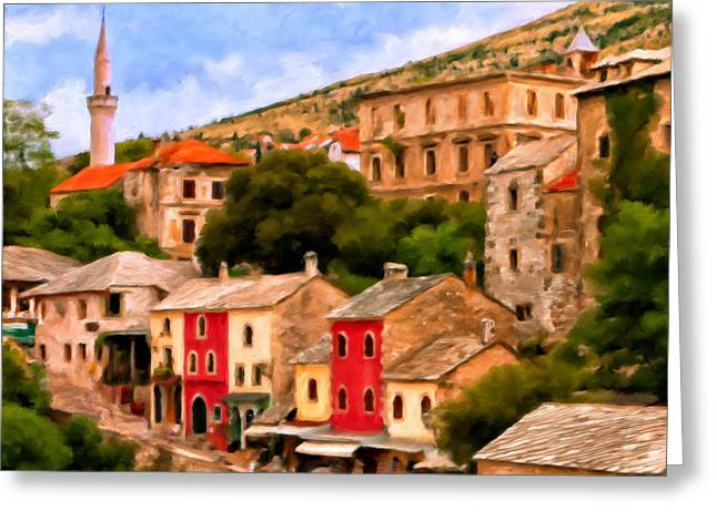 Red Buildings Greeting Cards - A Freed Mostar Bosnia Greeting Card by Michael Pickett