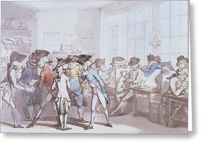 Caricature Drawings Greeting Cards - A French Coffee House Greeting Card by Thomas Rowlandson