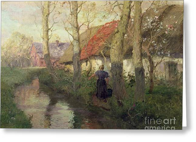 Way Home Greeting Cards - A French river landscape with a woman by cottages Greeting Card by Fritz Thaulow