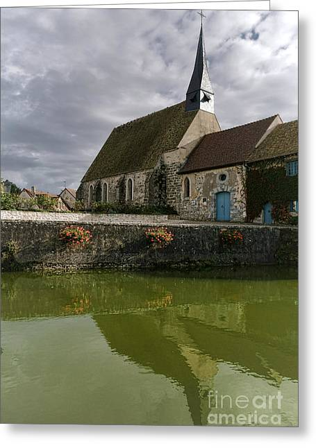 Farm Building Greeting Cards - A French Village Church Greeting Card by Olivier Le Queinec