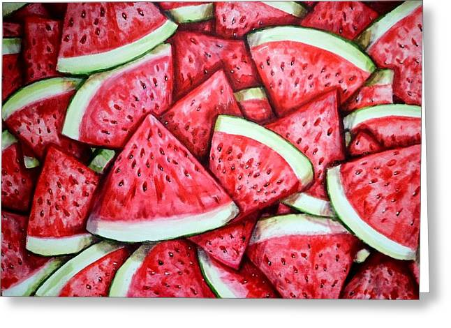 Watermelon Greeting Cards - A Fresh Summer 2 Greeting Card by Shana Rowe