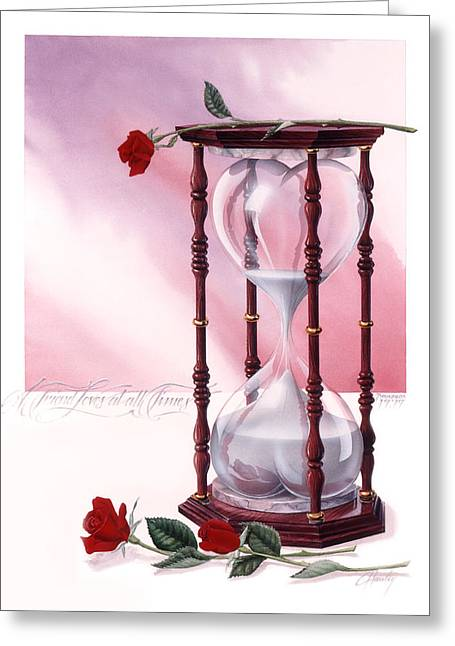 Red Hourglass Greeting Cards - A Friend Loves At All Times Greeting Card by Cliff Hawley