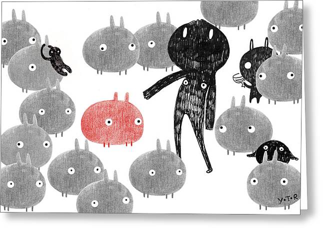 Crowd Mixed Media Greeting Cards - A friendly visit to the bunnyland Greeting Card by Yoyo Zhao