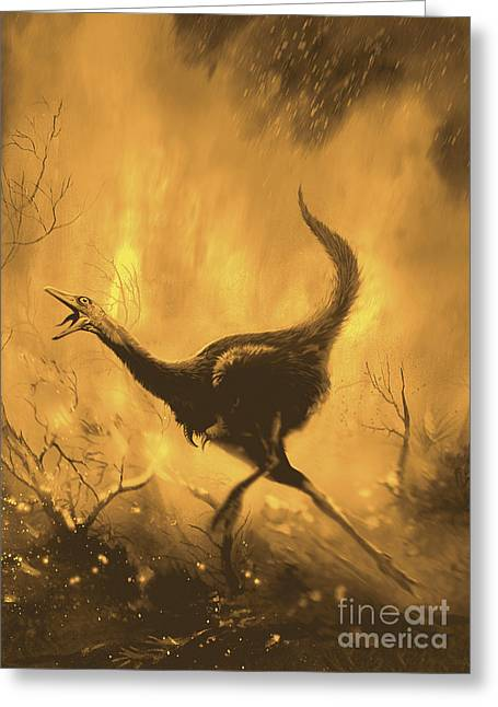 Fire In The Wood Greeting Cards - A Frightend Mononykus Tries To Escape Greeting Card by Jan Sovak