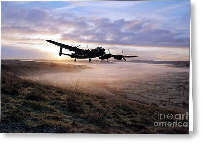 Lancasters Greeting Cards - A Frosty Lancasters Morning Greeting Card by J Biggadike
