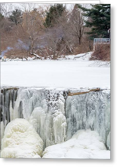 Winter In Maine Greeting Cards - A Frozen Waterfall Barbecue   Greeting Card by Stroudwater Falls Photography