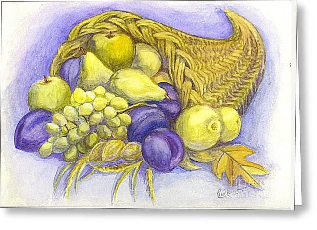 Culinary Drawings Greeting Cards - A Fruitful Horn of Plenty Greeting Card by Carol Wisniewski