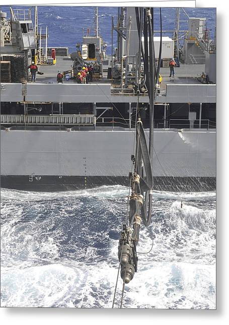 At Arrivals Greeting Cards - A Fuel Probe Is Connected From Usns Greeting Card by Stocktrek Images