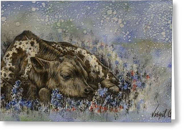 Texas Longhorn In Bluebonnets Greeting Cards - A Full Belly And A Warm Bed Greeting Card by Virgil Stephens