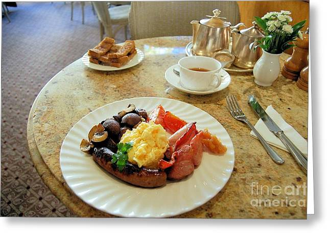 Marble Top Table Greeting Cards - A Full English Breakfast in England Greeting Card by Ross Sharp