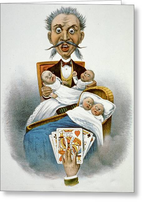 Baby Cradle Greeting Cards - A Full Hand Greeting Card by Currier and Ives