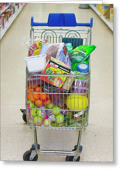 A Full Trolley Of Food Greeting Card by Ashley Cooper