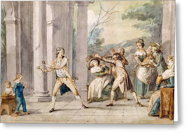 Pastimes Greeting Cards - A Game Of Blind Mans Buff, C.late C18th Greeting Card by George Morland