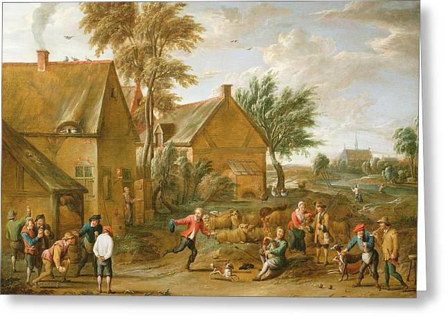 A Game Of Bowls By A Tavern Greeting Card by Alexander van Bredael