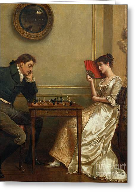 Chess Greeting Cards - A Game of Chess Greeting Card by George Goodwin Kilburne