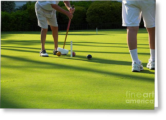 Croquet Greeting Cards - A Game of Croquet Greeting Card by Louise Heusinkveld