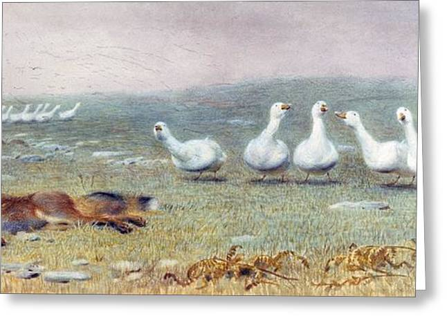 Game Animal Greeting Cards - A Game Of Fox And Geese, 1868 Greeting Card by Briton Riviere