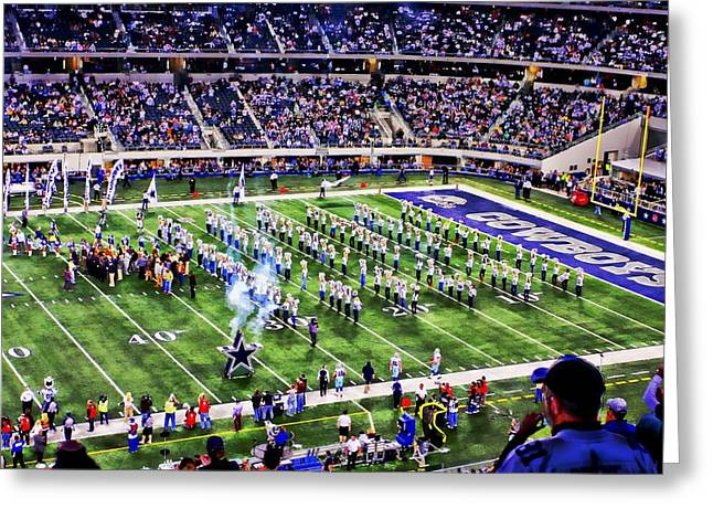 Cowboys Cheerleaders Greeting Cards - A game to remember Greeting Card by Carrie OBrien Sibley