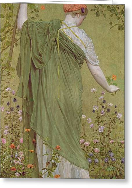 Beauty In Nature Paintings Greeting Cards - A Garden Greeting Card by Albert Joseph Moore