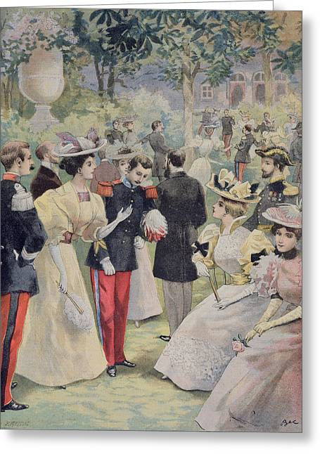 Gathering Drawings Greeting Cards - A Garden Party at the Elysee Greeting Card by Fortune Louis Meaulle