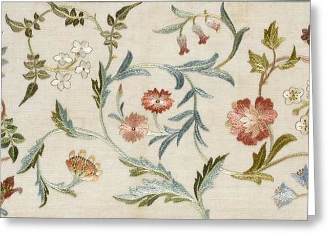 Silk Art Tapestries - Textiles Greeting Cards - A Garden Piece Greeting Card by May Morris