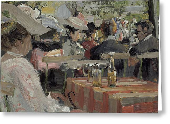 Open Air Greeting Cards - A Garden Restaurant Greeting Card by August Heitmuller