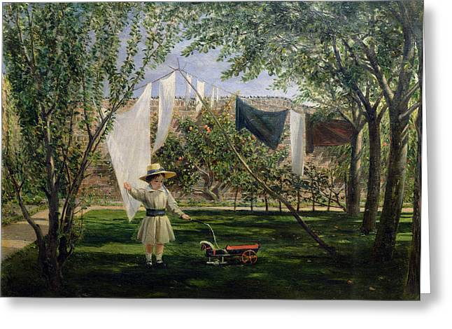 Washing Greeting Cards - A Garden Scene, With A Boy, The Artists Son George Dunlop Leslie, 1840 Greeting Card by Charles Robert Leslie