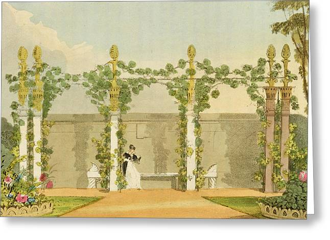 Furniture Greeting Cards - A Garden Seat, From Ackermanns Greeting Card by John Buonarotti Papworth