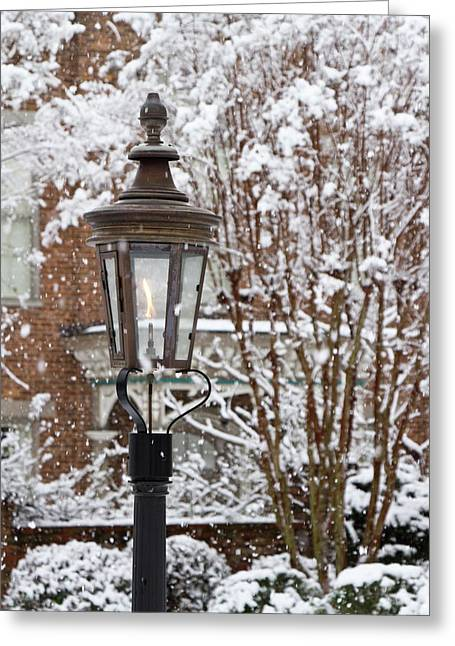 A Gas Lamp In Historic Twickenham Greeting Card by William Sutton