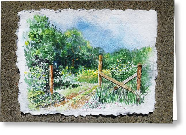 Archery Paintings Greeting Cards - A Gate To The Ranch Briones Park California Greeting Card by Irina Sztukowski