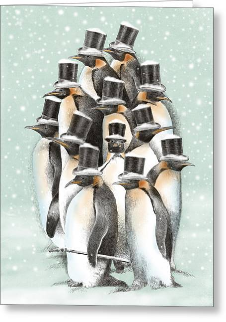 Penguins Greeting Cards - A Gathering in the Snow Greeting Card by Eric Fan