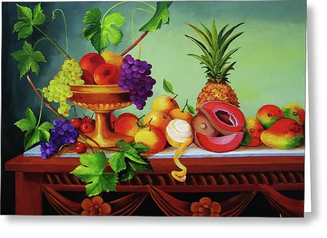Mango Greeting Cards - A Gathering of Fruits  Greeting Card by Dominica Alcantara