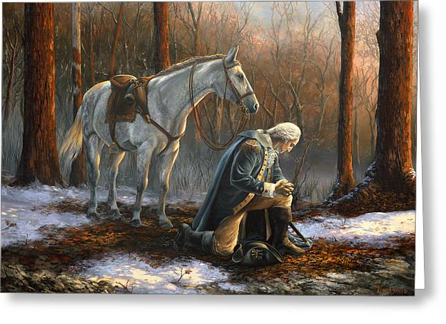 Prayer Paintings Greeting Cards - A General Before His King Greeting Card by Tim Davis