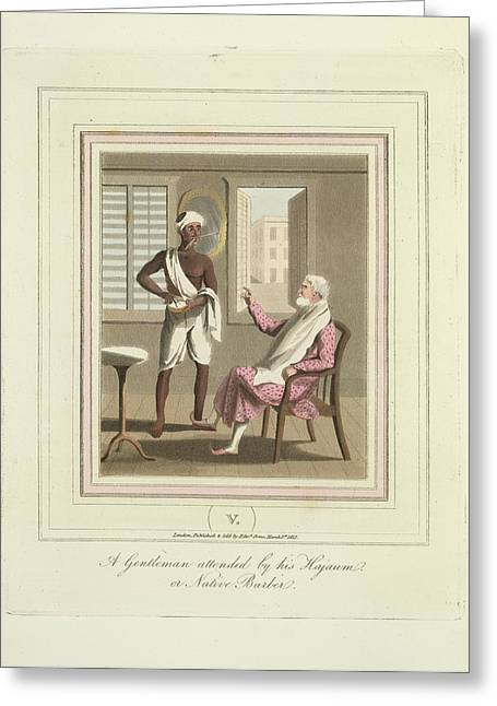 A Gentleman And A Barber Greeting Card by British Library