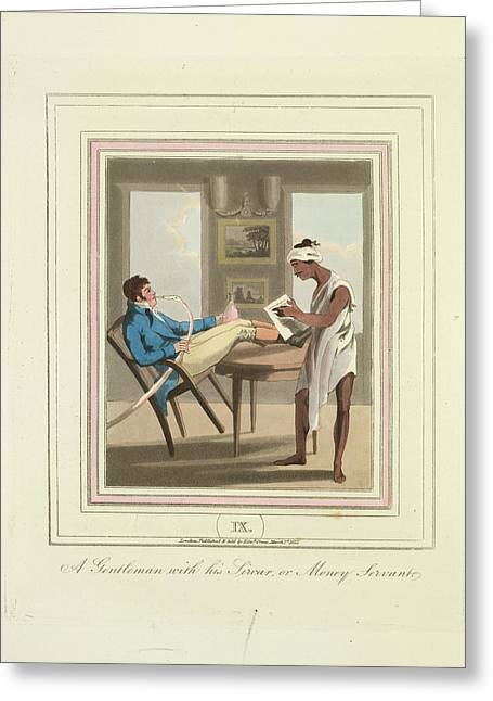 A Gentleman And A Money Servant Greeting Card by British Library