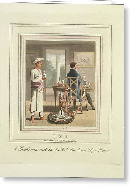 A Gentleman And A Pipe Bearer Greeting Card by British Library