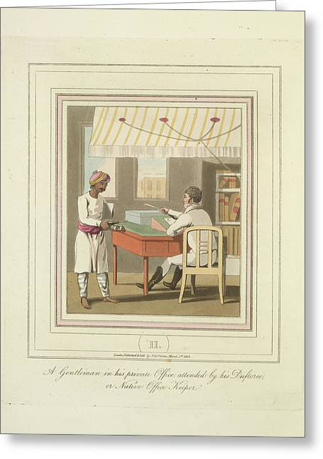 A Gentleman And An Office Keeper Greeting Card by British Library