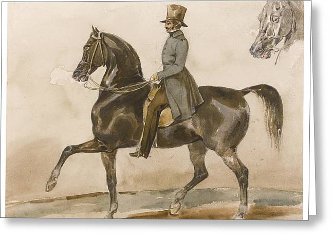 The Horse Greeting Cards - A Gentleman On Horseback Greeting Card by Celestial Images