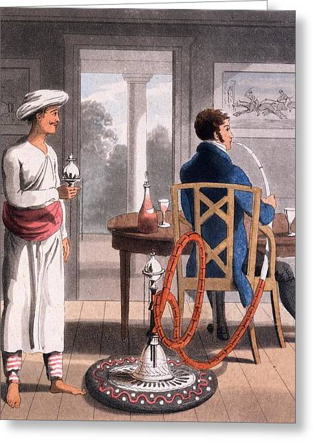 Asia Drawings Greeting Cards - A Gentleman With His Hookah Burdah, Or Greeting Card by Charles D