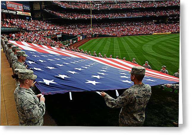 Opening Day Greeting Cards - A giant American flag Greeting Card by Celestial Images