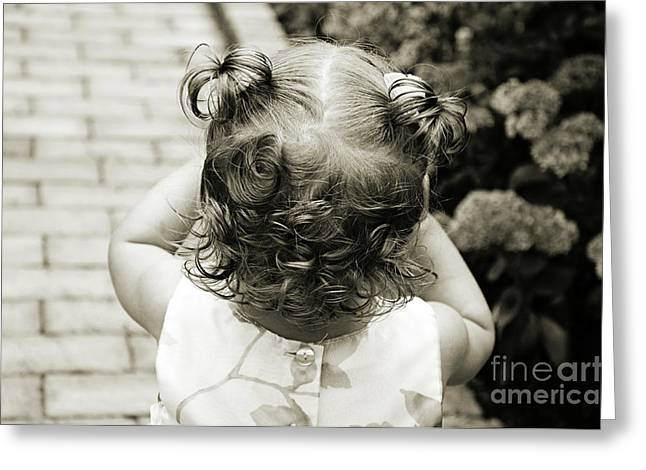 Curled Hair Greeting Cards - A Girl And Her Curls Greeting Card by Andee Design