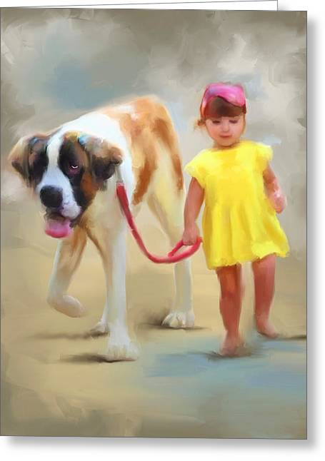 St Bernard Greeting Cards - A Girl and Her Dog Greeting Card by Jai Johnson