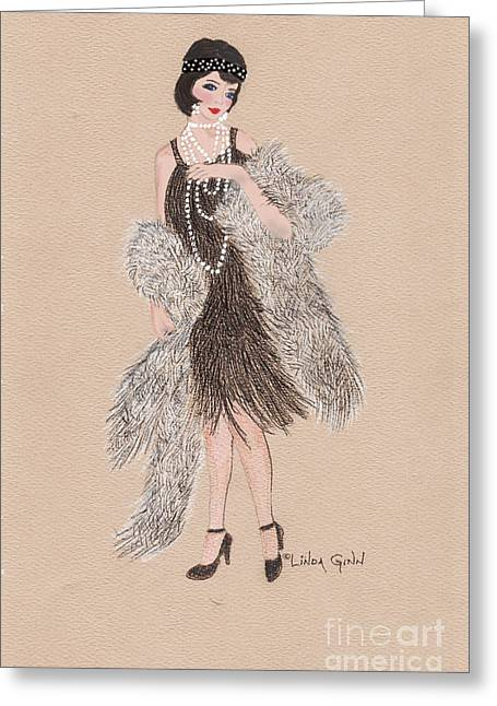 Charleston Drawings Greeting Cards - A Girl and Her Fur Greeting Card by Linda Ginn