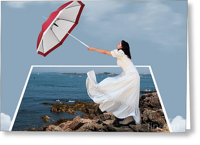 New England Ocean Greeting Cards - A Girl and her Umbrella.  Out of Bounds Greeting Card by Juli Scalzi